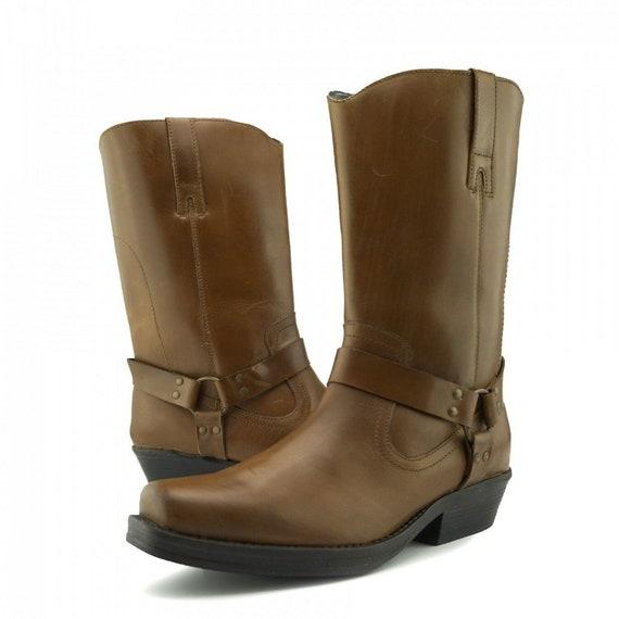 Men's Biker Boots Western Cowboy Ankle Genuine Leather Tan