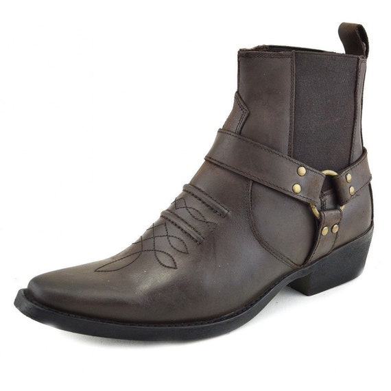 Leather Cowboy Pull On Western Harness Cuban Heel Mens Smart Ankle Boots UK 6 13 Handmade Brown 361