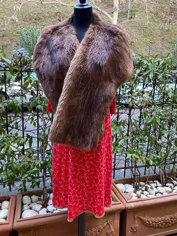 Vintage fur shrug Valentino 90s/Brown shrug beaver