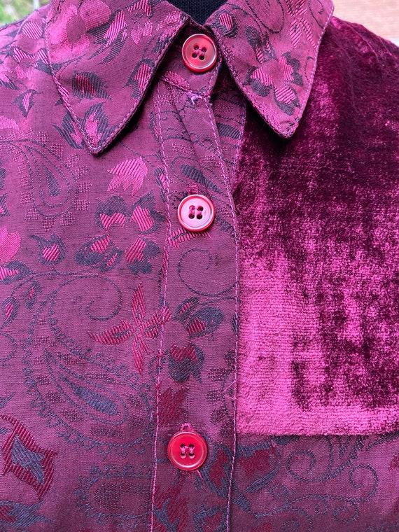 80s Vintage patchwork shirt Italy/Bordeaux shirt/… - image 2