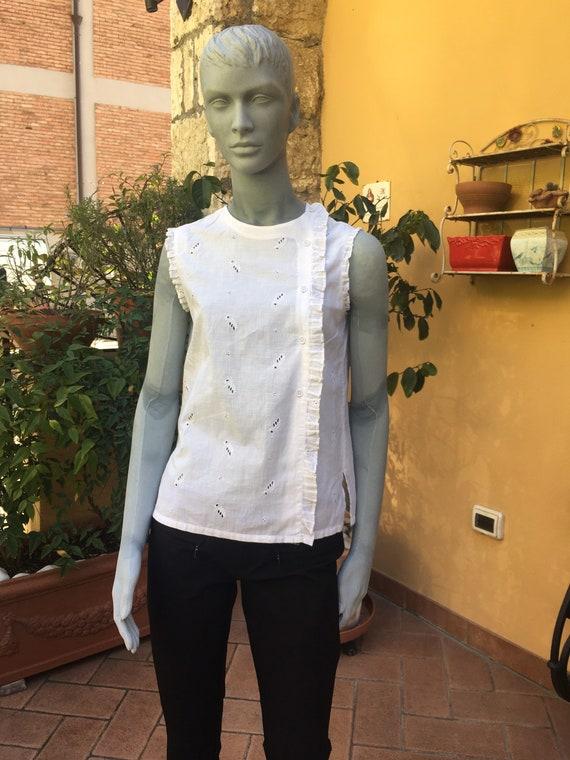 Vintage 70s blouse/SHIRT COTTON KAUTEN/White vinta