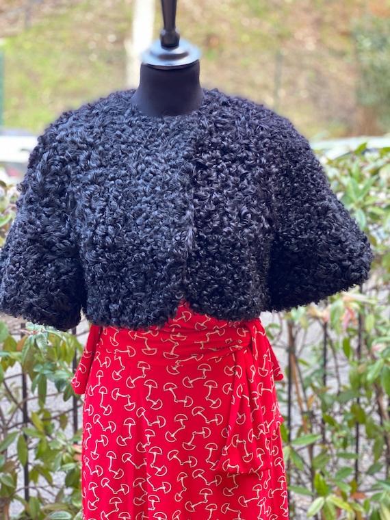 Vintage fur shrug 90s/Black shrug astrakhan/Fashio