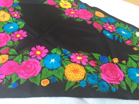 80s Ken Scott scarf/Black floral scarf/Vintage sca