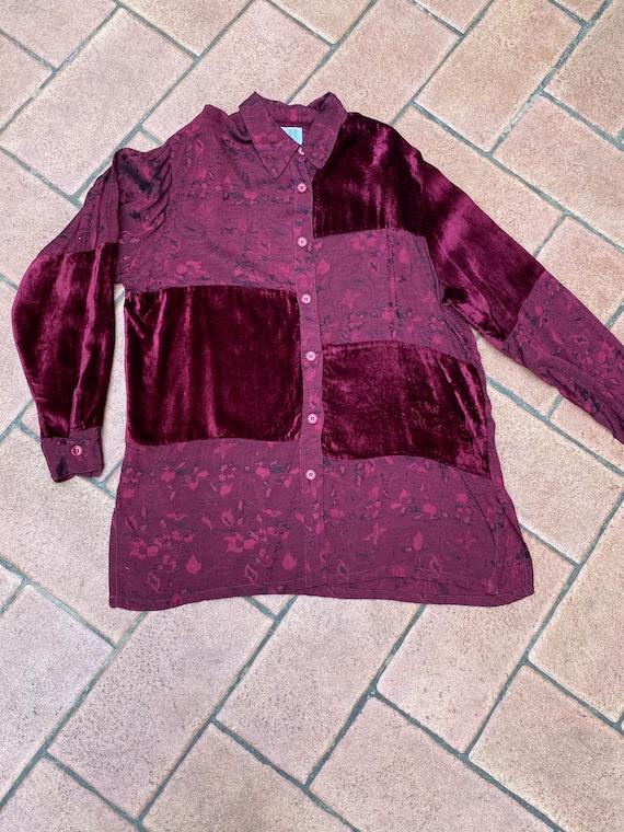 80s Vintage patchwork shirt Italy/Bordeaux shirt/… - image 8