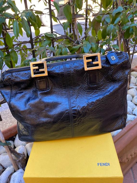 90s Design bag Fendi/Black Leather Boston bag FEND