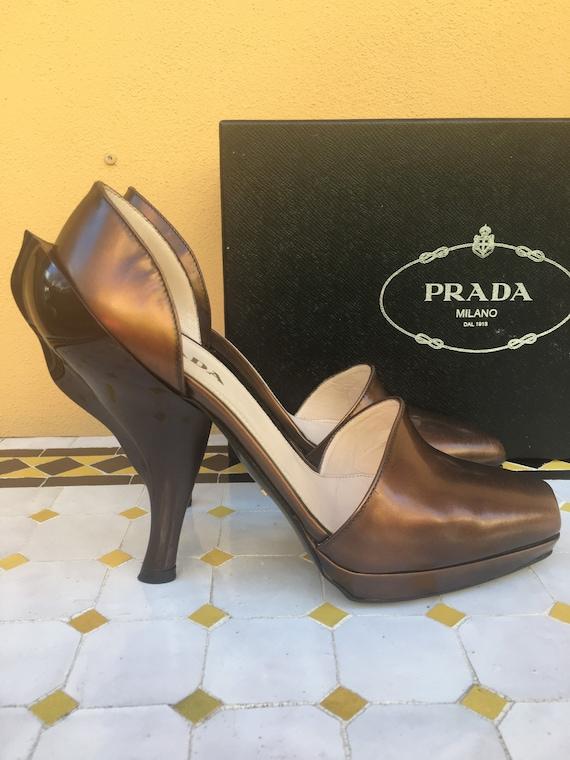 Prada Pumps/Prada Shoes/Lady brown gold Prada styl