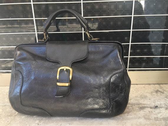 Bag Vintage LEATHER DOKTOR BAG/ Black Leather Bag/