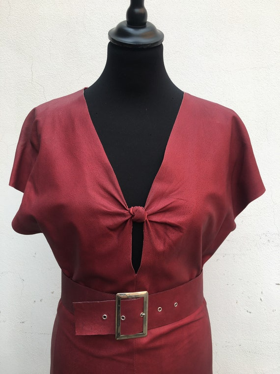 vintage leather dress/Design dress Italy/Ceremony