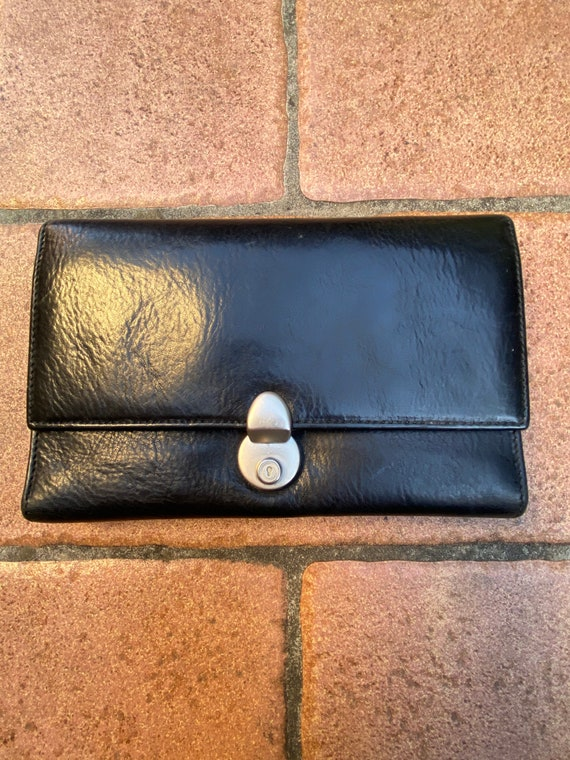 Vintage Wallet/Black leather wallet Florence Italy