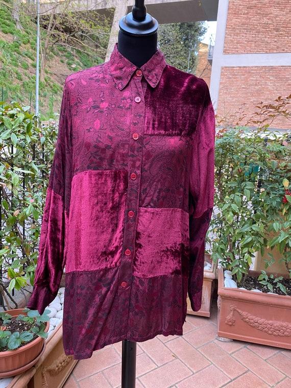 80s Vintage patchwork shirt Italy/Bordeaux shirt/… - image 3