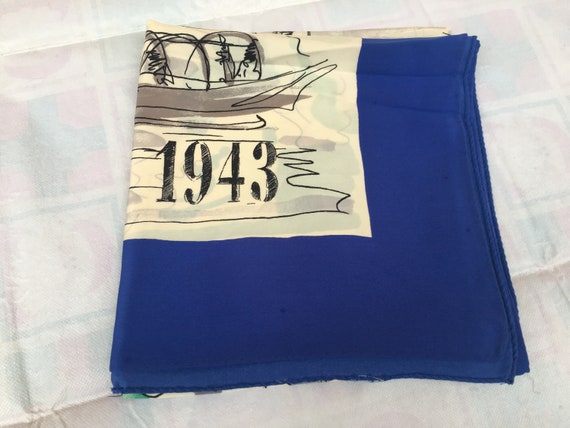 Foulard Vintage 1943/ Scarf vintage/White-blue sca