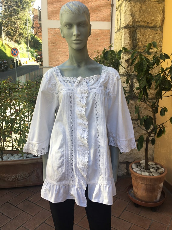 Vintage 30s blouse/SHIRT COTTON VINTAGE/Fashion wh
