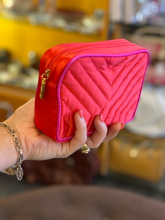 YSL/Red nylon beauty/ Pouch YSL 90s/Vintage bag co