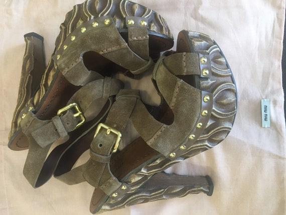 Sandals Miu Miu/ Miu Miu designer sandals/ Leathe… - image 1