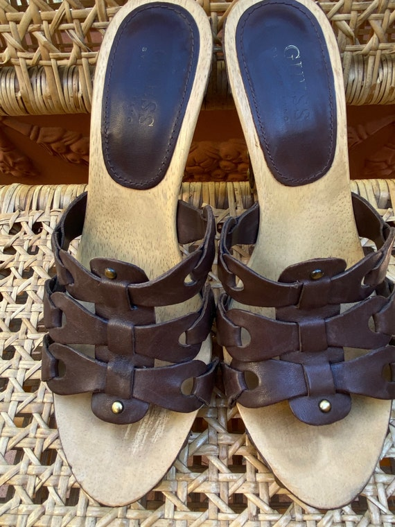 Vintage Leather Clogs Boho Clogs Vintage Guess Woven Leather Clogs 90s Guess by Marciano Leather Slip on Clogs with Hand Woven Detail