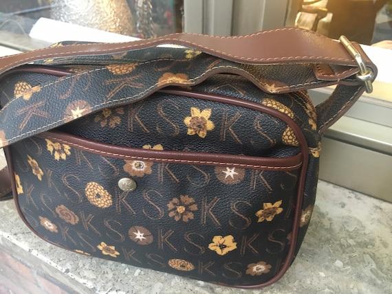 80s cross bag KEN SCOTT/Brown-yellow shoulder bag/