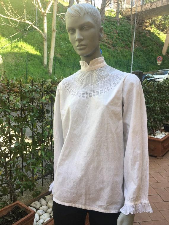 30s blouse vintage/SHIRT COTTON VINTAGE/ White vin