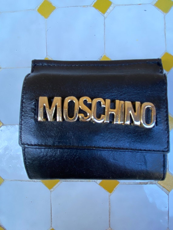 Wallet vintage Moschino/ Black leather wallet Mosc