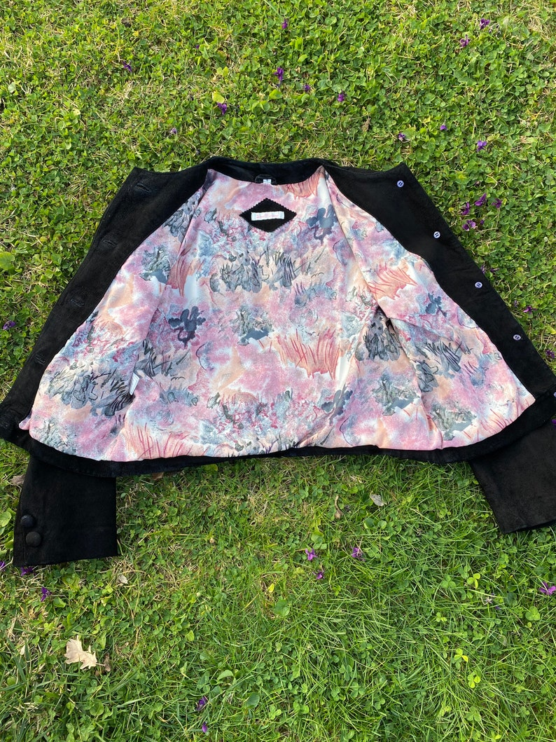 90s Vintage jacket leather Last SceneBlack jacket chamoisDesign leather jacketJacket Last Scene camosci\u00f2 jacket