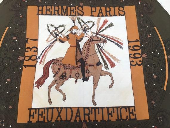 Vintage FOULARD HERMES 90s /Scarf Hermes / Green b