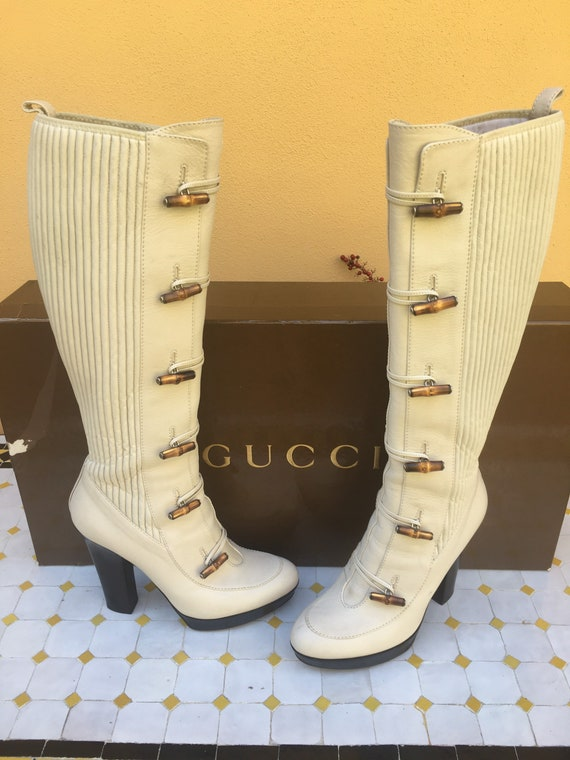 Boots GUCCI BAMBOO/Iconic Gucci leather boots/Ivor