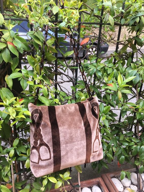 Shoulderbag 80s vintage/ Velvet bag/ Designer shou