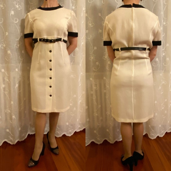 80s Design wool dress/Tailored Suit/White black wo