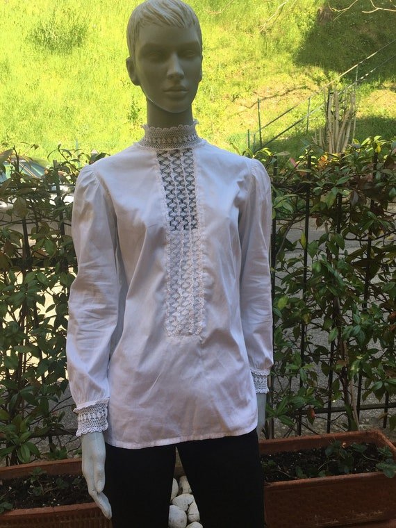 Vintage 30s blouse/SHIRT COTTON RICAMI/White blous