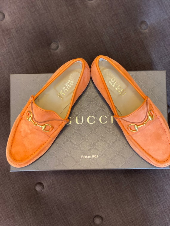 Moccasins Lady Gucci style/Leather orange Shoes Gu
