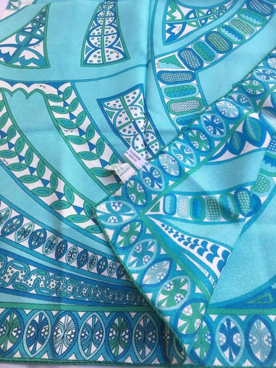 Vintage 70s FOULARD EMILIO PUCCI / Light blue Rare