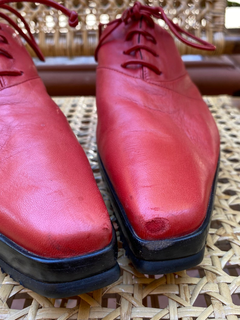 80s Vintage design shoes BaldininiRed style shoes Italy fashionBaldinini vintage red shoesDesign original shoes Oxford