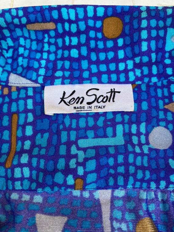 VINTAGE DRESS 60s Ken Scott/Blue mustard dress/ Vi