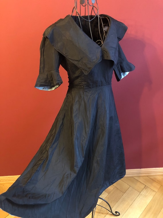 Original Vintage 1950s black silk dress