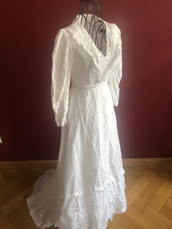 Edwardian Wedding dress cotton Repro 1900s