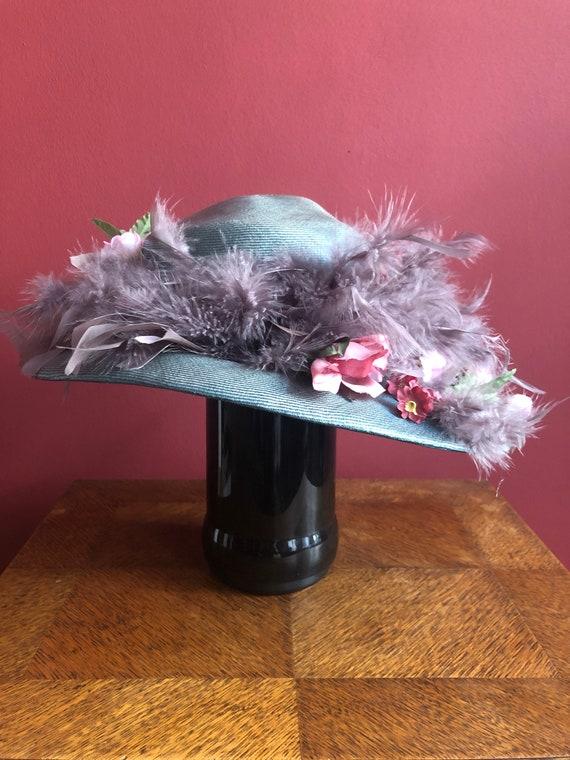 Edwardian hat mint rose repro 1910s