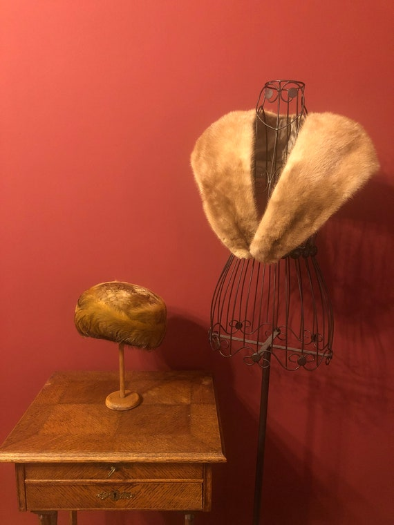 Edwardian fur hat and fur collar original antique
