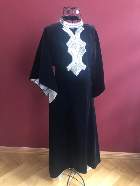 Russian vintage velvet dress with silver embroider