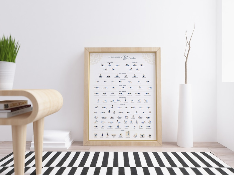 Yin Yoga Poses Poster  Yoga Poses Illustrations with Names  image 0