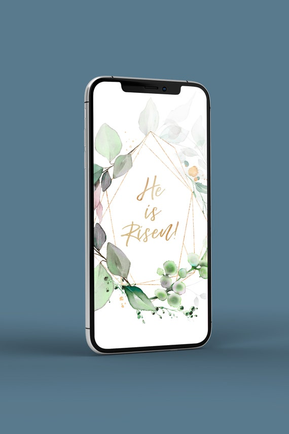 He is Risen iPhone Lock Screen Beautiful Greenery and Faux | Etsy