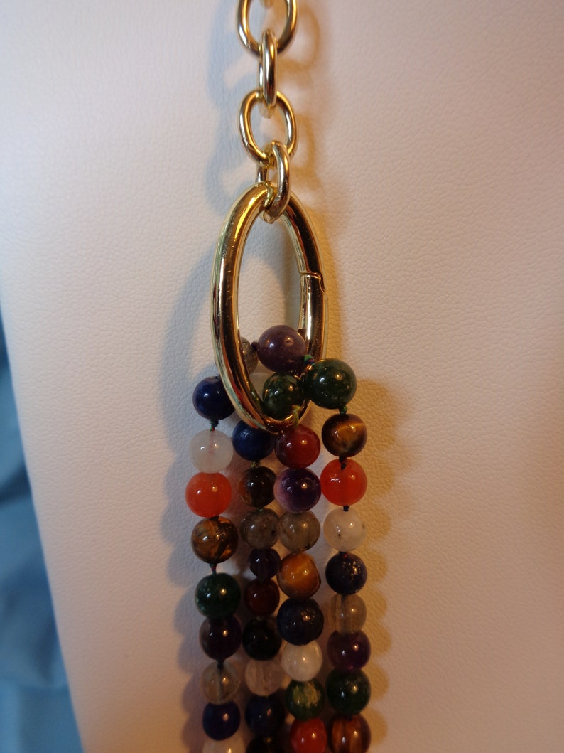 Convertible Multi Gemstone Necklace with Gold Tone Accents