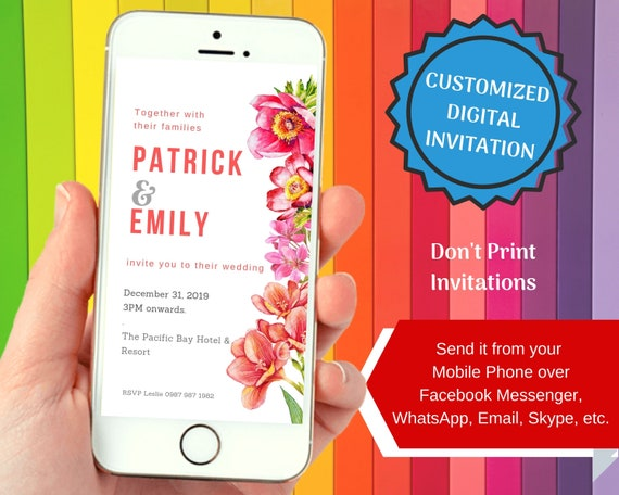 Wedding Invitation 2 For Smartphones Personalized Digital File To Send Via Facebook Messenger Whatsapp Skype Email
