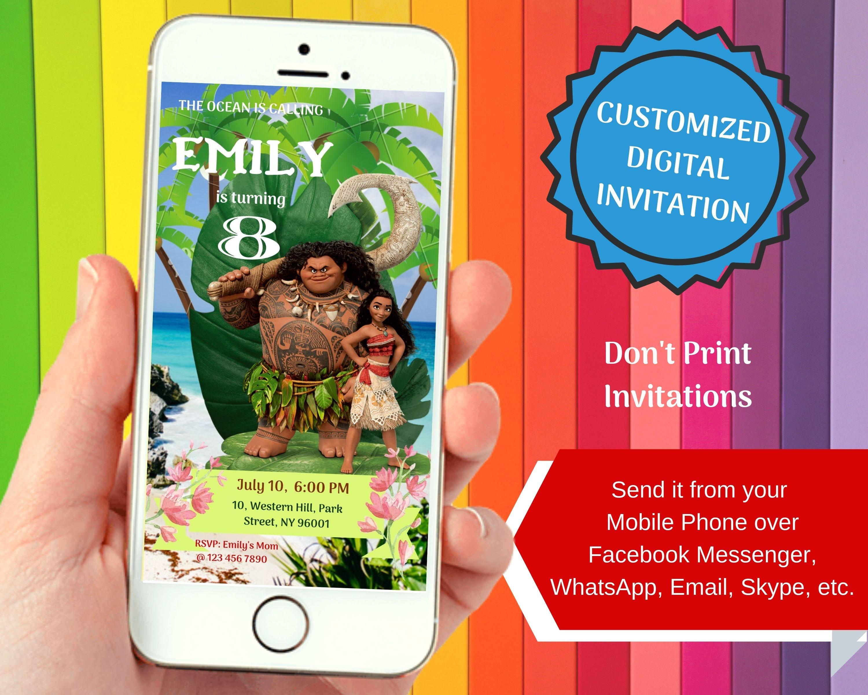 Moana 1 Birthday Invitation For Smartphones Personalized
