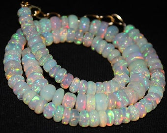 Natural ethiopian pink shaded opal smooth beads necklace,4x2mm,fire opal necklace,opal rondelle beads necklace,welo opal necklace:ps5