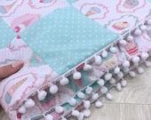 pink stroller blanket cupcake blanket newborn girl gift set unicorn pillow