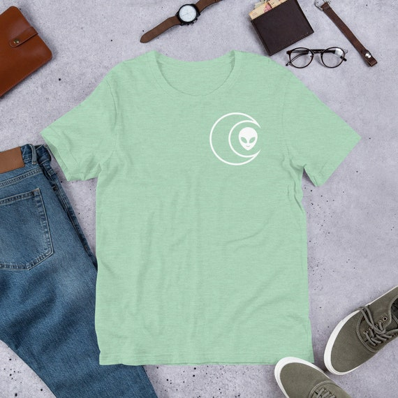 Mint Green Celestial Crescent Moon Alien Head Pocket logo Front And Back Print Short-Sleeve Unisex T-Shirt