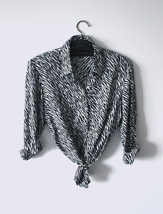 Animal print shirt/blouse // Zebra print size Smal