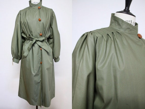 Vtg 80's Olive Green Trench COAT with Puff Sleeve