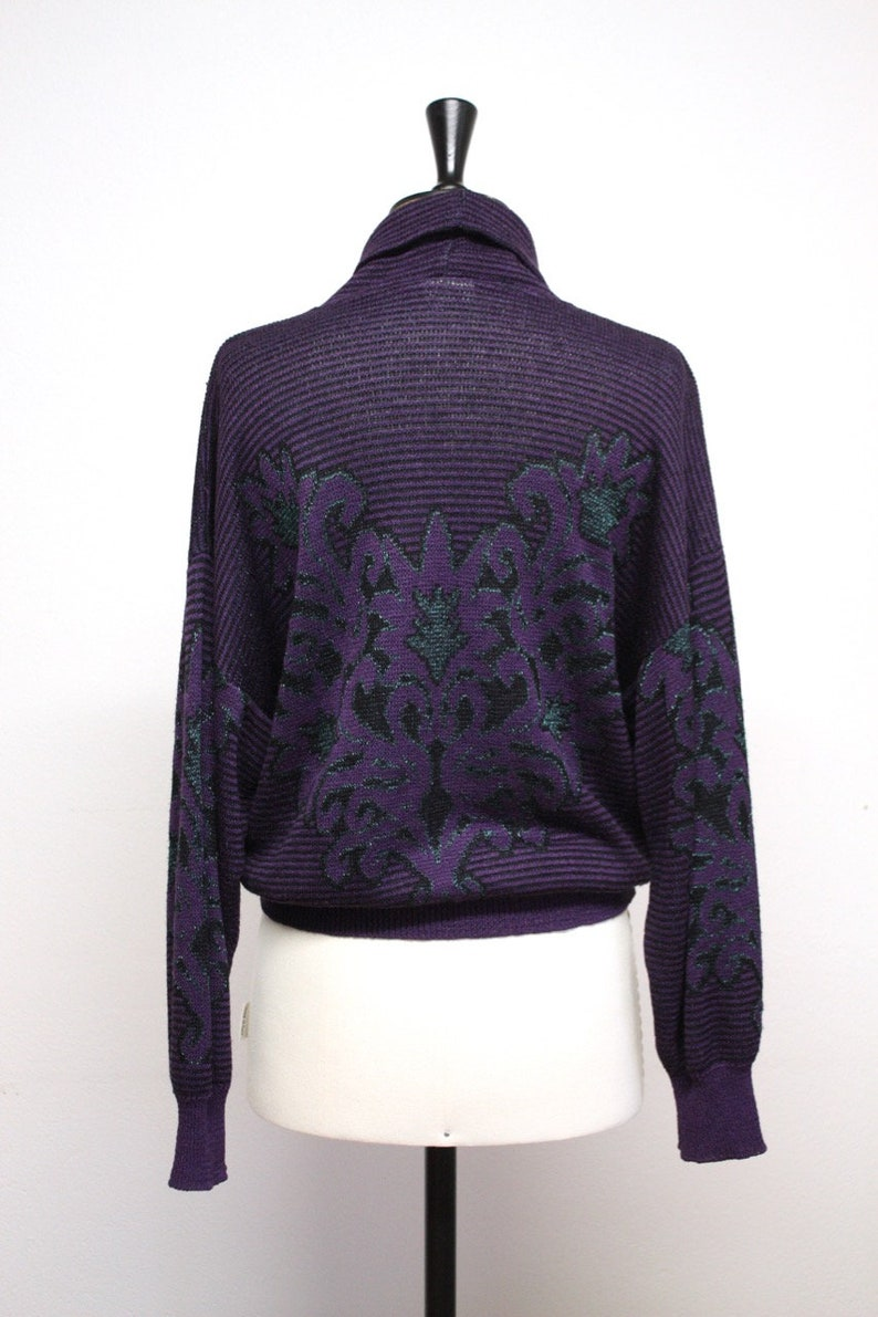 Vintage 80s Purple Knit Turtleneck Sweater with Ornaments Made in Denmark  Size S