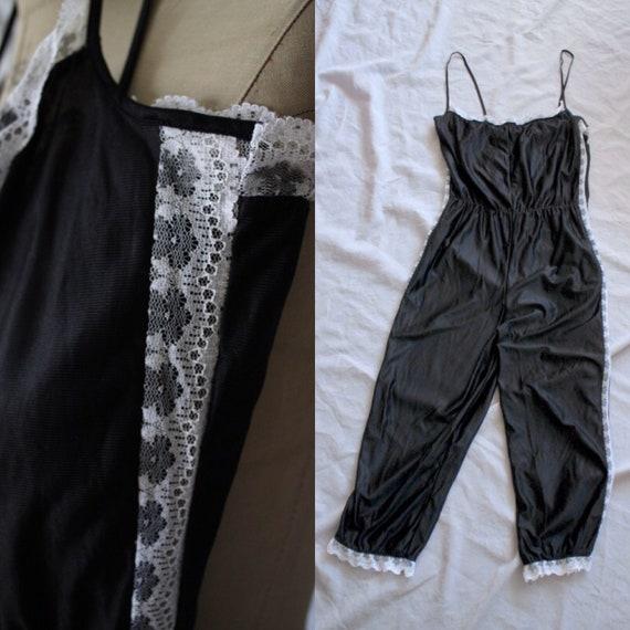 90's jumpsuit pyjamas // Black nylon white lace un