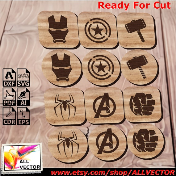Marvel, Avengers, Coaster Set, Laser Cut, CNC Cutting, CNC Router, Digital, Vector Files, Instant Download, Dxf, Cdr, Pdf, Svg, Eps, Wood